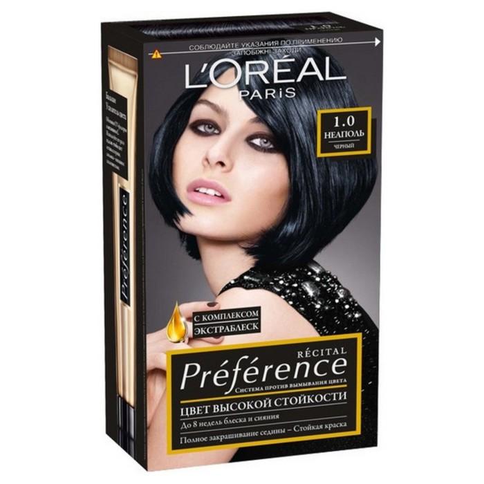 Краска для волос L'Oreal Preference Recital «Неаполь», тон 1.0, чёрный