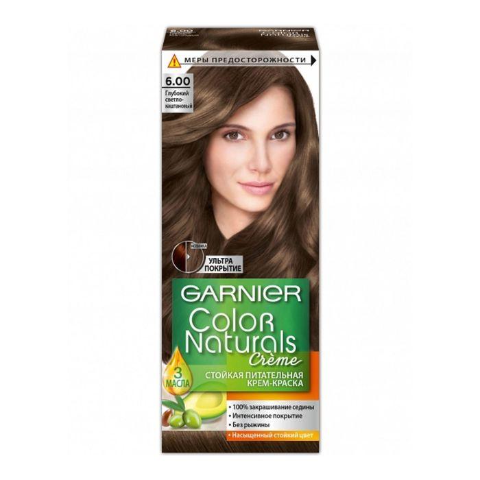 Краска для волос Garnier Color Naturals, тон 6.00, глубокий светло-каштановый