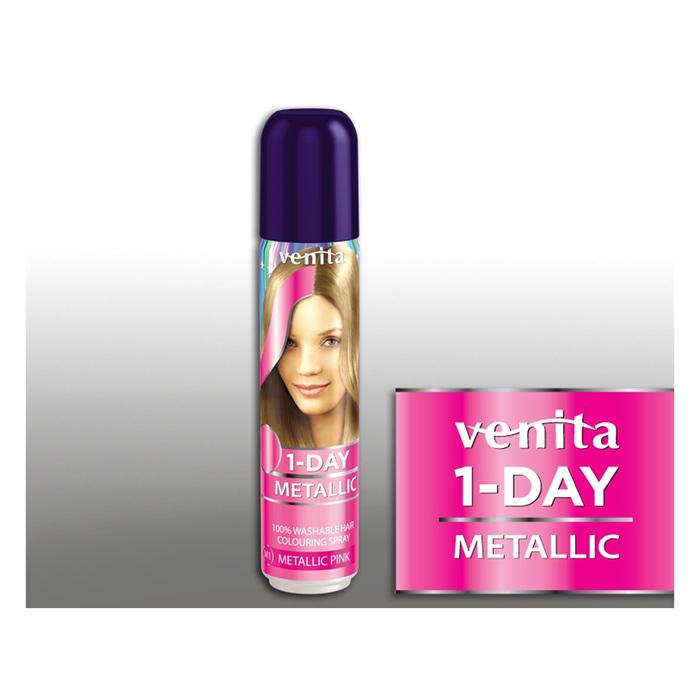 Оттеночный спрей для волос 1-day metallic, м1 pink, 50 мл