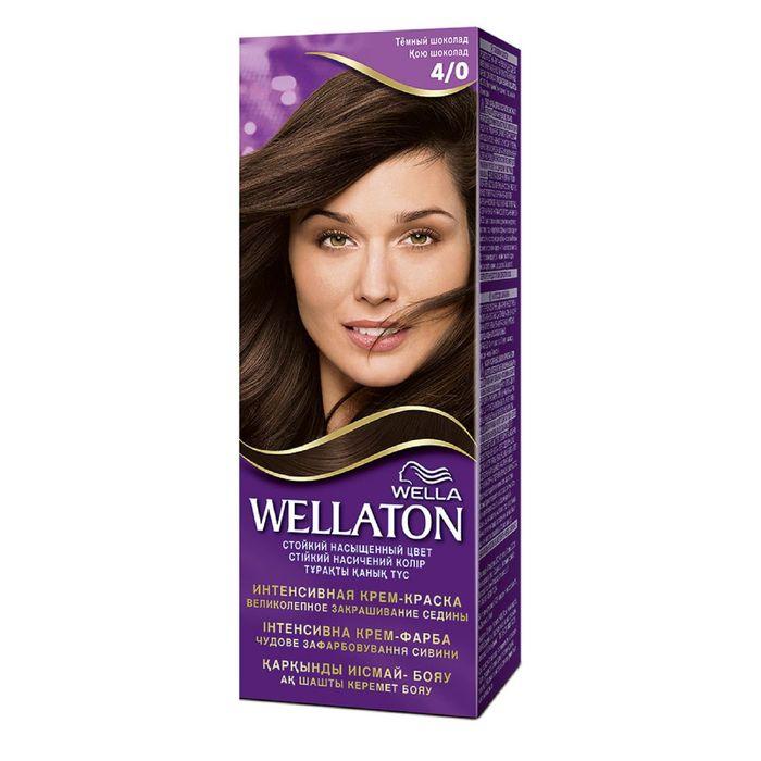 """Крем-краска Wellaton """"Тёмный шоколад 4/0"""", 60 мл"""