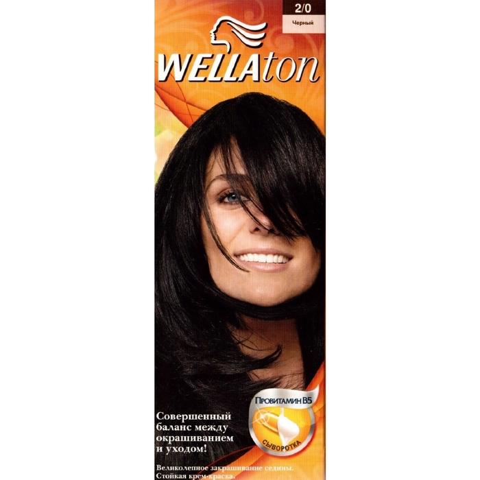 "Крем-краска Wellaton ""Чёрный 2/0"", 60 мл"