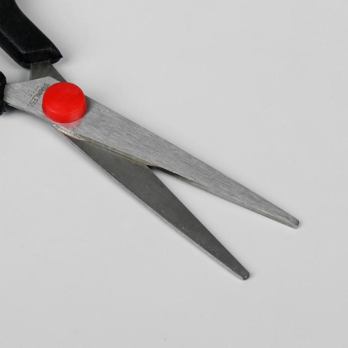 Ножницы парикмахерские с упором, лезвие 5 см, цвет чёрный/красный
