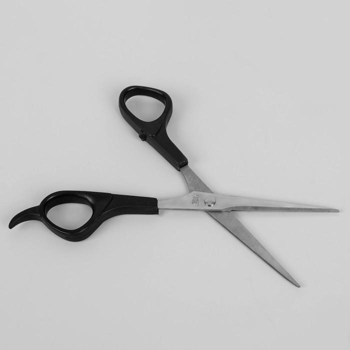 Ножницы парикмахерские с упором, лезвие 5,5 см, цвет чёрный/серебряный