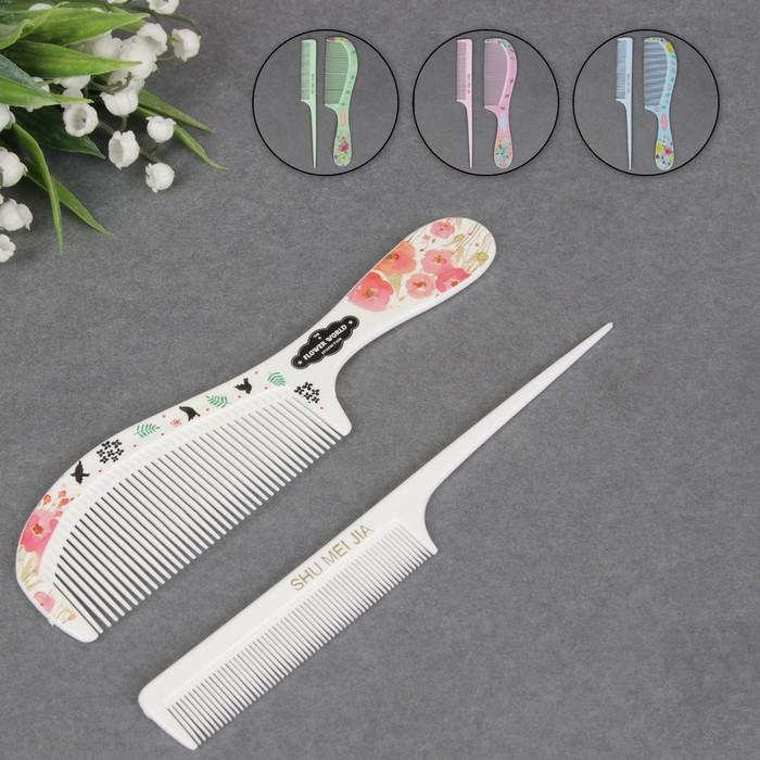 Набор расчёсок, 2 предмета: с ручкой, с хвостиком, цвет и рисунок МИКС