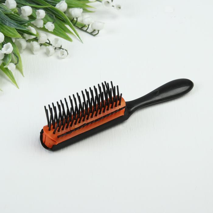 Расчёска массажная, цвет чёрный/оранжевый