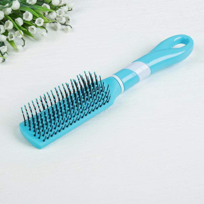 Расчёска массажная, цвет голубой/белый