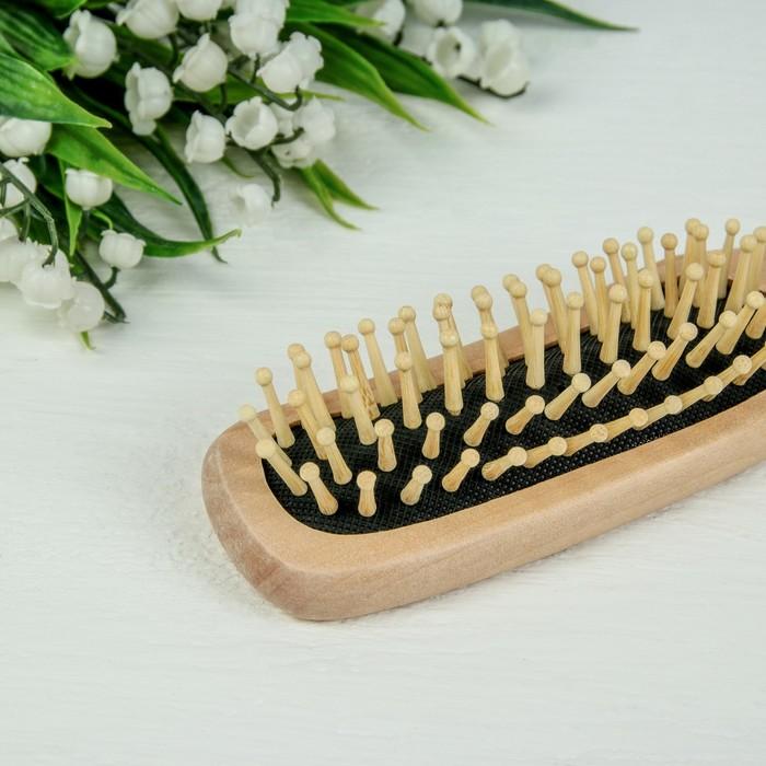 Расчёска массажная, деревянная, цвет «светлое дерево»