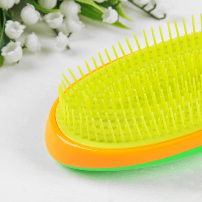 Расчёска массажная, цвет жёлтый/зелёный