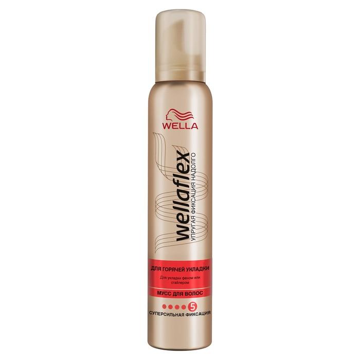 Мусс для волос Wellaflex, для горячей укладки, суперсильной фиксации, 200 мл