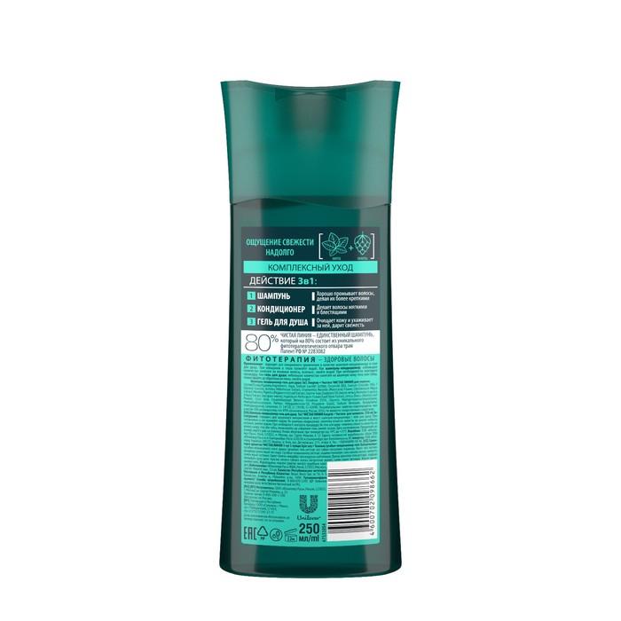 Шампунь для волос 3 в 1 Чистая линия for men «Энергия и Чистота» комлексный уход, 250 мл