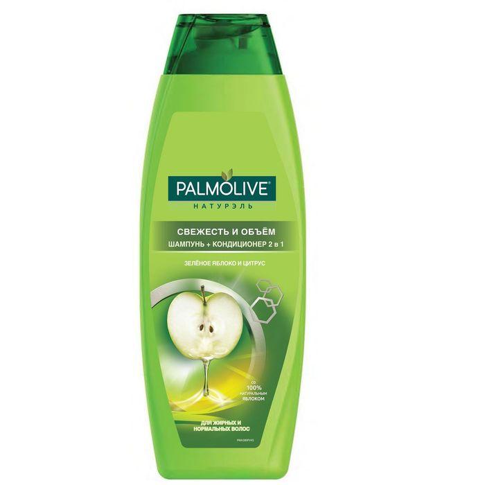Шампунь для волос Palmolive 2 в 1 « Свежесть и Объём» с зелёным яблоком и цитрусом, 380 мл