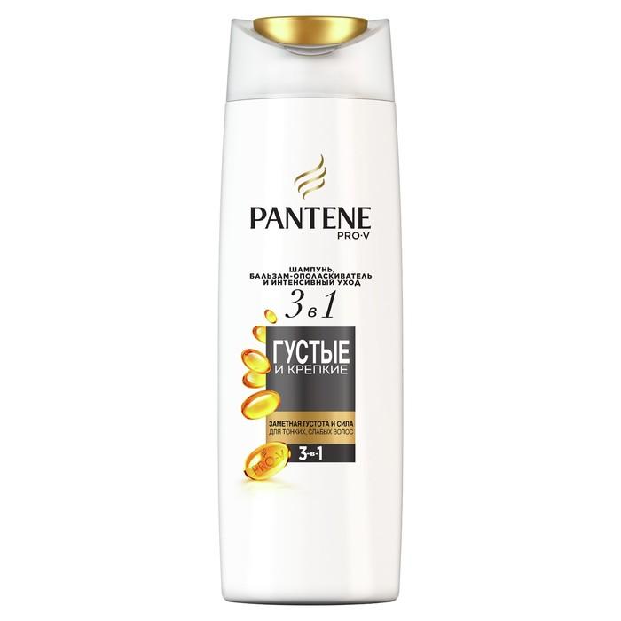 Шампунь для волос Pantene 3 в 1 «Густые и крепкие», для тонких и ослабленных волос, 360 мл