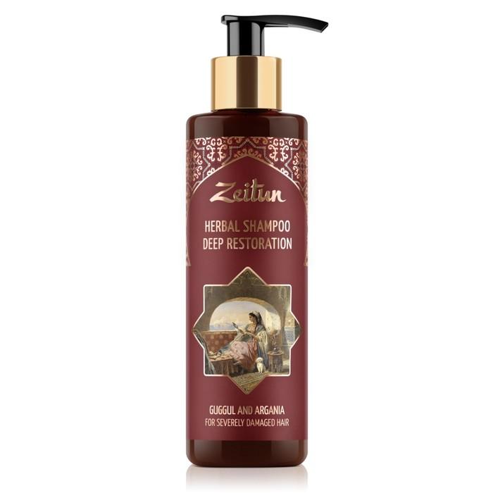 Фито-шампунь Zeitun, для глубокого восстановления сильноповреждённых волос, с арабским миртом и арганой, 200 мл
