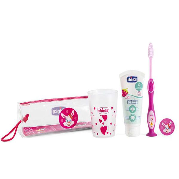 Набор по уходу за полостью рта: зубная щетка, зубная паста, стаканчик. 3г+ для девочки Chicco