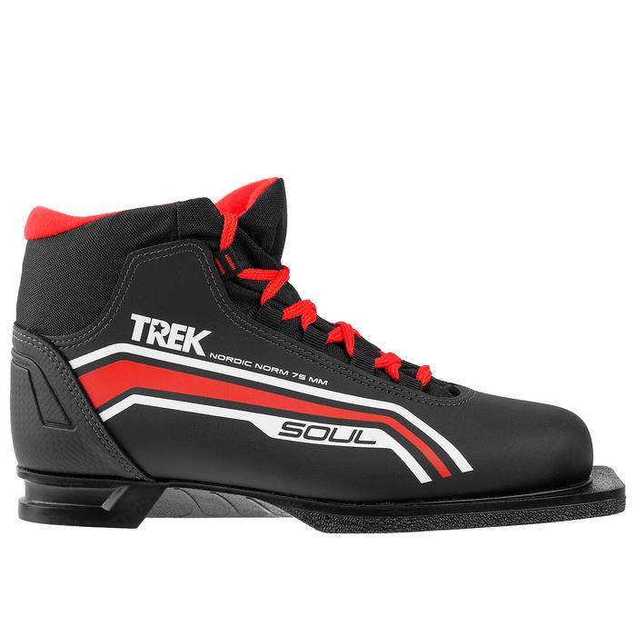 Ботинки лыжные ТРЕК Soul НК NN75, цвет чёрный, лого красный, размер 35
