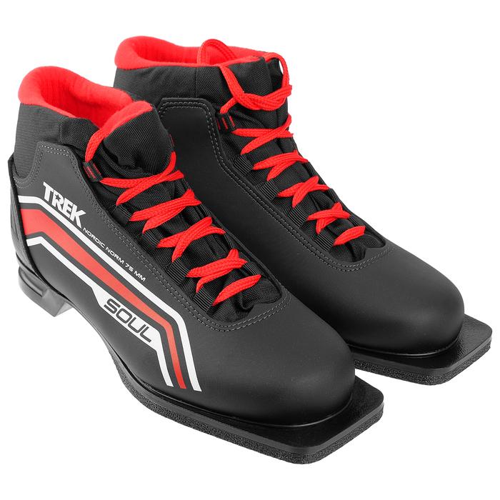 Ботинки лыжные ТРЕК Soul НК NN75, чёрный, лого красный, размер 39