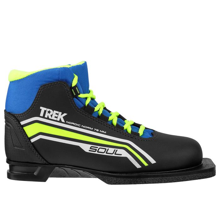 Ботинки лыжные TREK Soul NN75 ИК, цвет чёрный, лайм неон, размер 43
