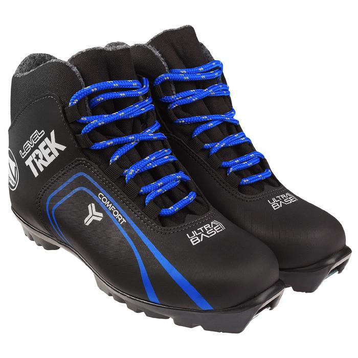 Ботинки лыжные TREK Level 3 NNN ИК, цвет чёрный, лого синий, размер 35