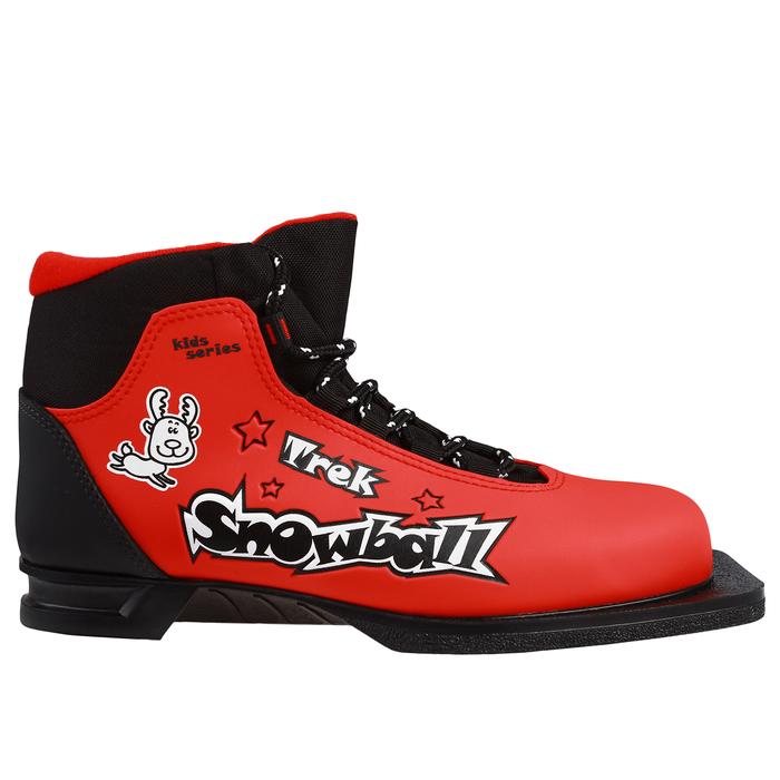 Ботинки лыжные TREK Snowball NN75 ИК, красный, лого чёрный, размер 35