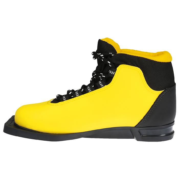 Ботинки лыжные TREK Snowball NN75 ИК, жёлтый, лого чёрный, размер 37