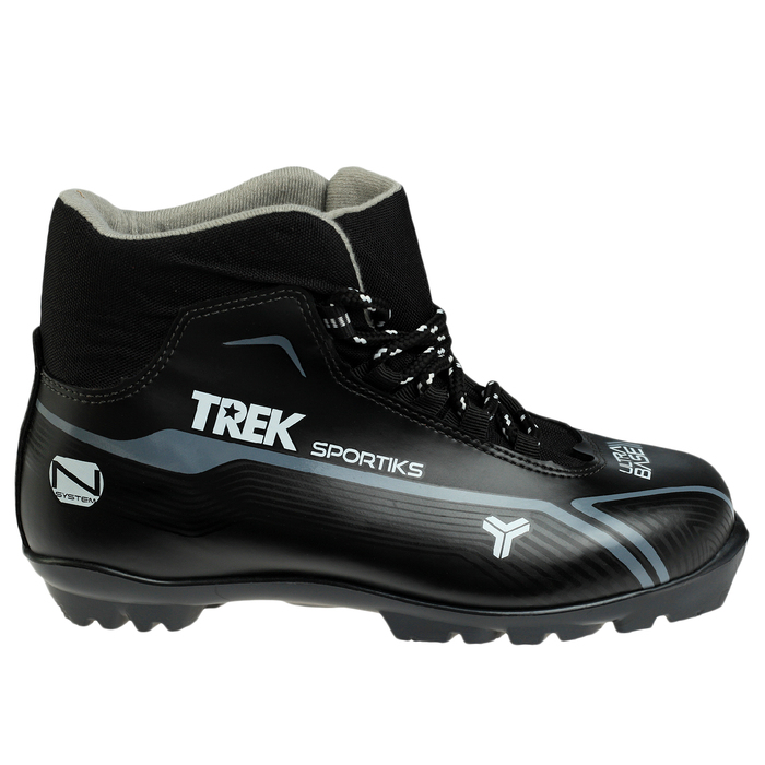 Ботинки лыжные TREK Sportiks NNN ИК, цвет чёрный, лого серый, размер 37