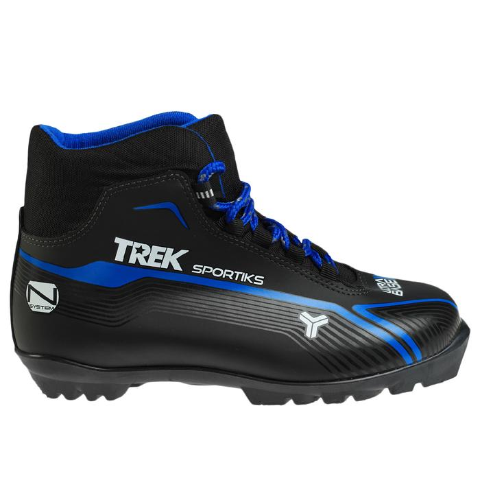 Ботинки лыжные TREK Sportiks NNN ИК, цвет чёрный, лого синий, размер 43