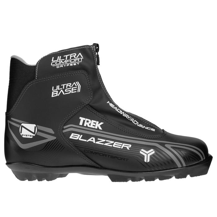 Ботинки лыжные TREK Blazzer Comfort NNN ИК, цвет чёрный, лого серый, размер 45