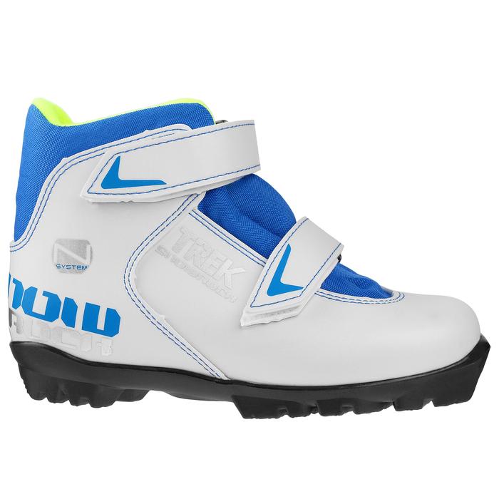 Ботинки лыжные TREK Snowrock NNN 2 ремня, цвет белый, лого синий, размер 28