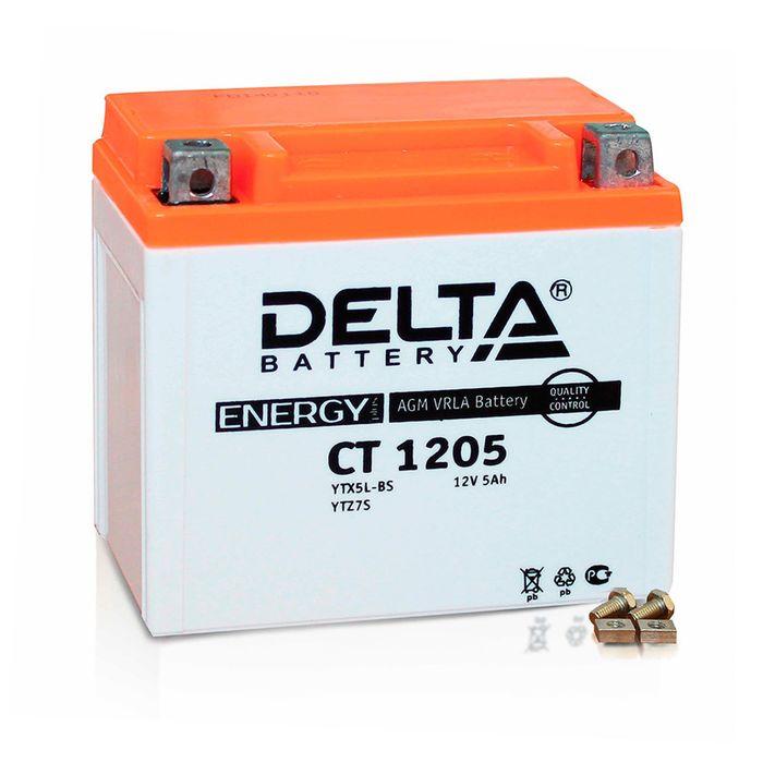 Аккумуляторная батарея Delta СТ1205 (YTX5L-BS, YT5L-BS, YTZ7S)12V, 5 Ач обратная(- +)