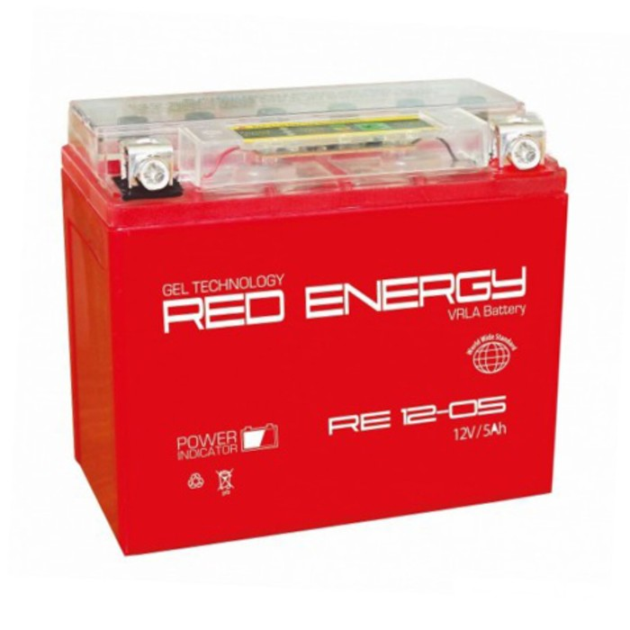 Аккумуляторная батарея Red Energy DS 12-05(YTX5L-BS, YTZ7S, YT5L-BS)12V, 5Ач обратная(- +)