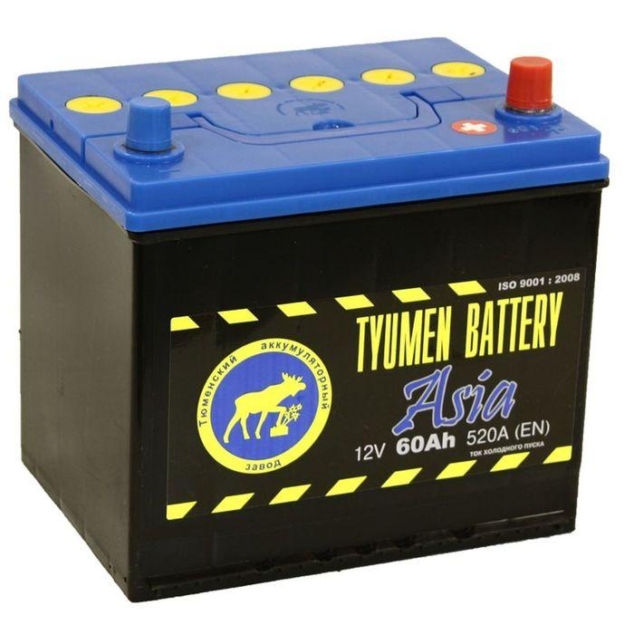 Аккумуляторная батарея Тюмень 60 Ач, обратная полярность 6СТ-60L, Азия