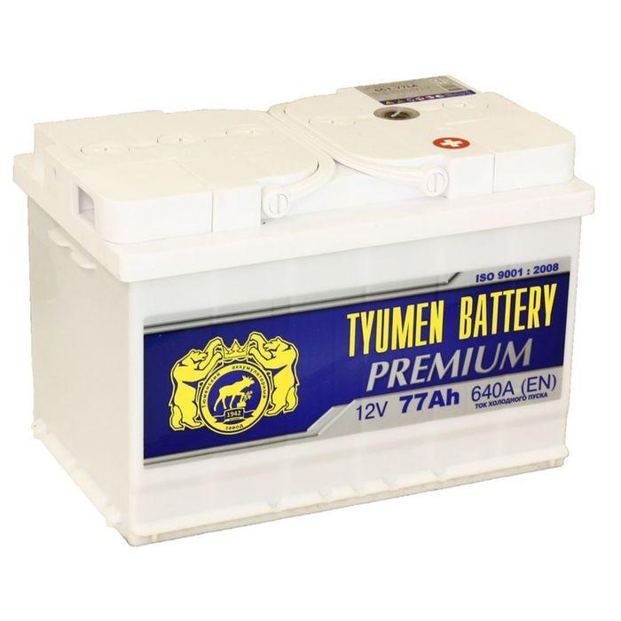 Аккумуляторная батарея Тюмень 77 Ач, обратная полярность 6СТ-77LA, Premium