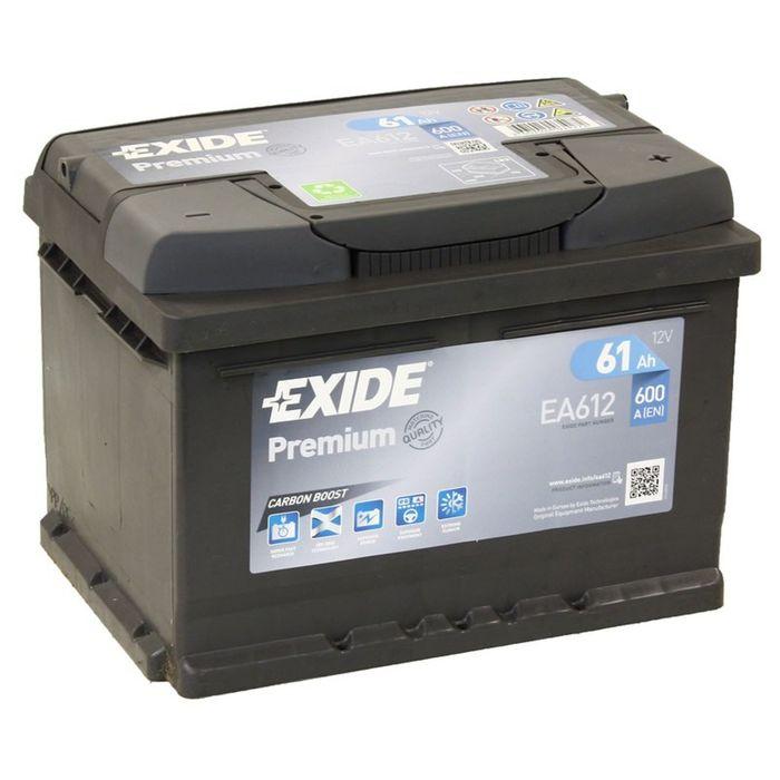 Аккумуляторная батарея Exide 61 Ач, обратная полярность Premium EA612, низкий