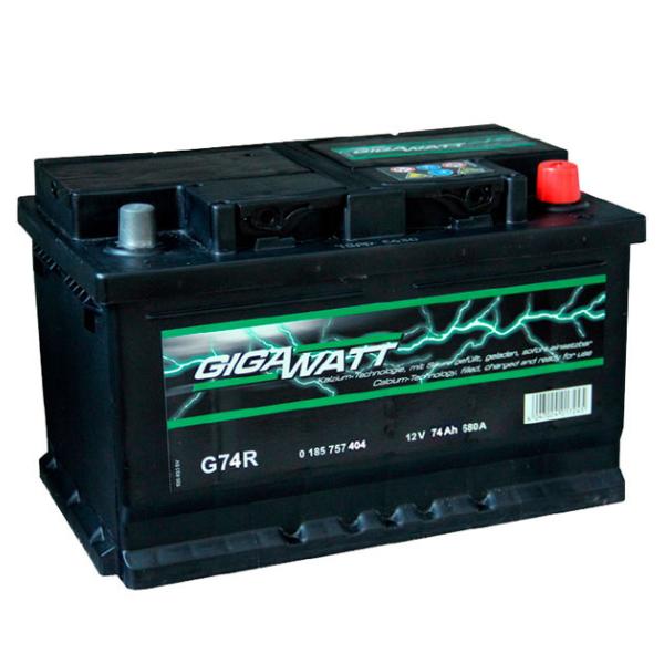 """Аккумулятор Gigawatt 74Ah """"- +"""" (574104)"""