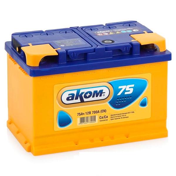 Аккумулятор Аком 6СТ-75Ah L