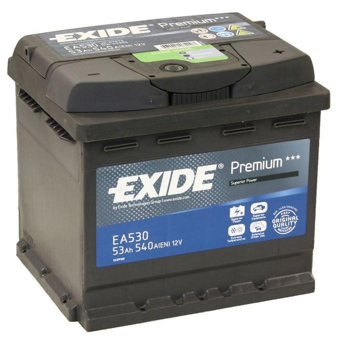 Аккумуляторная батарея Exide 53 Ач, обратная полярность Premium EA530