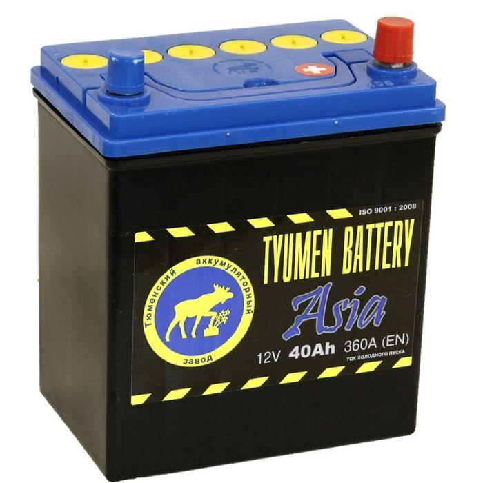 Аккумуляторная батарея Тюмень 40 Ач, обратная полярность 6СТ-40L, Азия