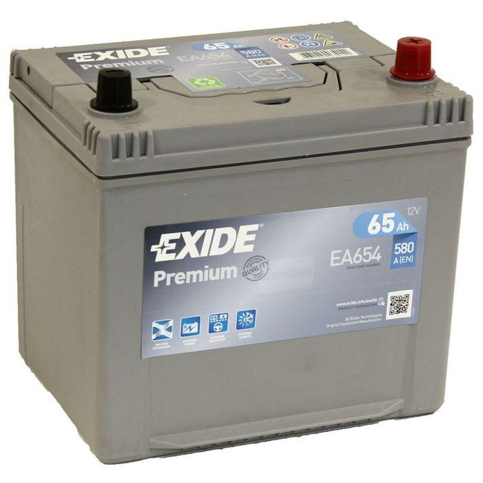 Аккумуляторная батарея Exide 65 Ач, обратная полярность Premium EA654 (D23FL)