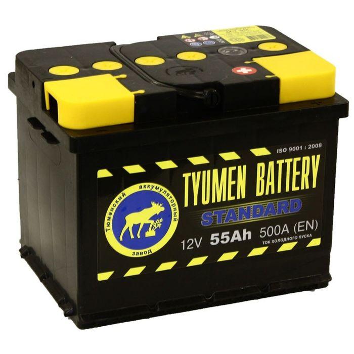 Аккумуляторная батарея Тюмень 55 Ач, обратная полярность 6СТ-55L, Standard