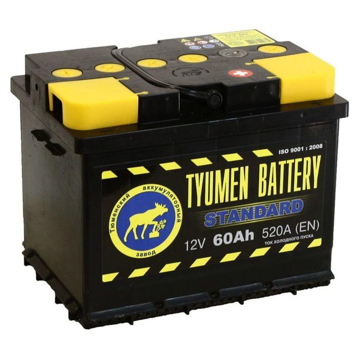 Аккумуляторная батарея Тюмень 60 Ач, обратная полярность 6СТ-60L, Standard
