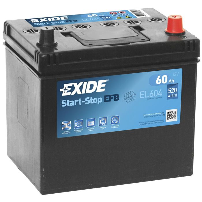 Аккумуляторная батарея Exide 60 Ач, обратная полярность Start-Stop EFB EL604