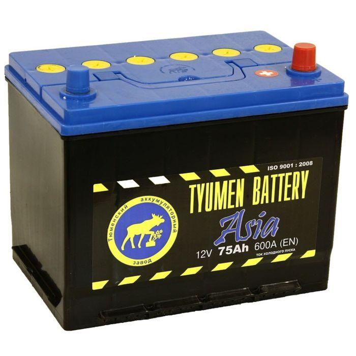 Аккумуляторная батарея Тюмень 75 Ач, обратная полярность 6СТ-75L, Азия