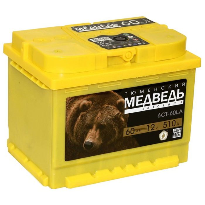 Аккумуляторная батарея Тюменский медведь 60 А/ч - 6 СТ АПЗ, обратная полярность