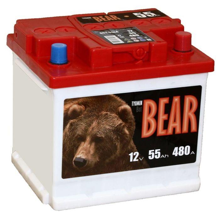 Аккумуляторная батарея Batbear 55 Ач, обратная полярность 6СТ-55LA (куб)