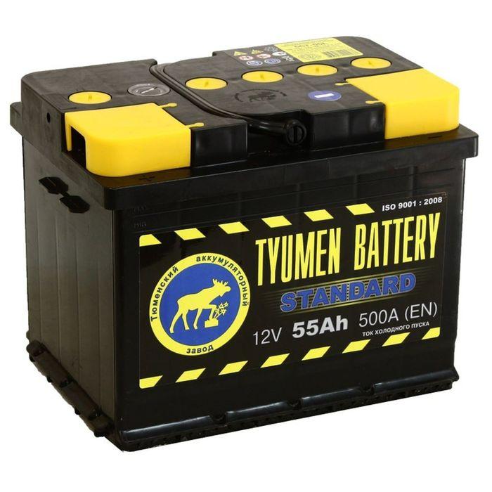 Аккумуляторная батарея Тюмень 55 Ач 6СТ-55L, Standard