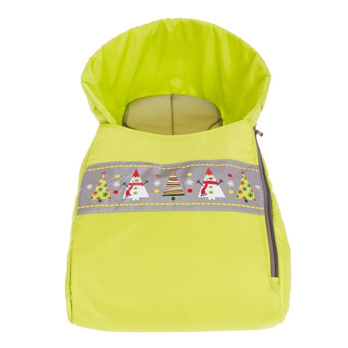 Сиденье для санок «Снеговики» с лентой, цвет лимонный