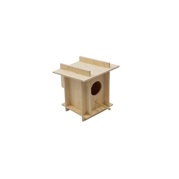Скворечник для птиц в клетку, фанера, малый, 12 х 12 х 14 см