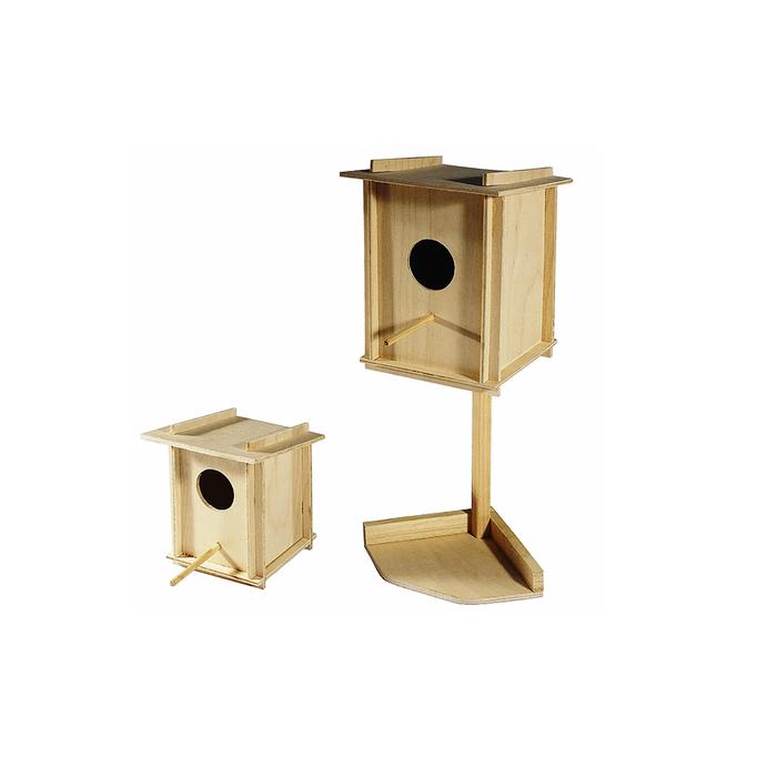 Скворечник для птиц в клетку, фанера, малый на подставке, 12,5 х 12,5 х 35 см