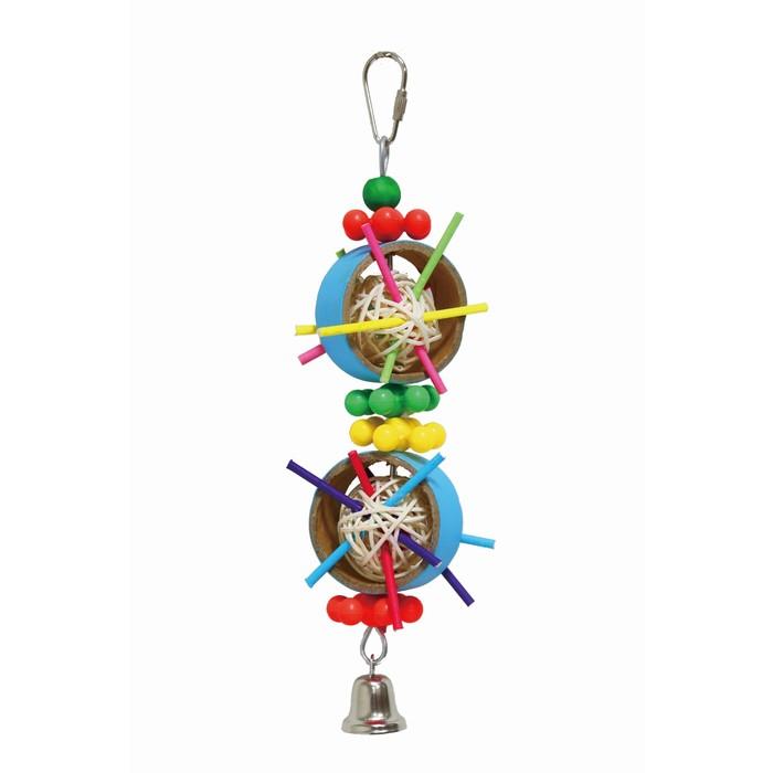"""Игрушка Fauna INT """"Кольца с плетеными мячами"""", для птиц, 27см"""