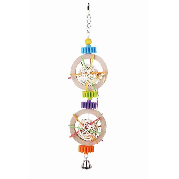 """Игрушка Fauna INT """"Кольца с плетенными мячами"""", для птиц, 40,6см"""